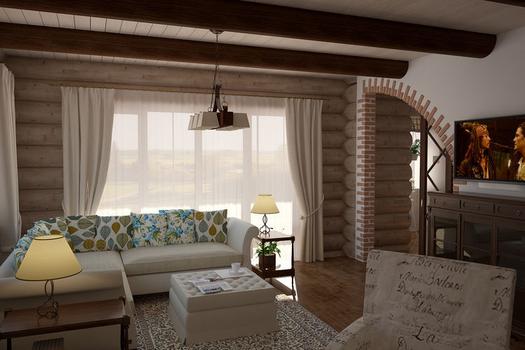 Интерьер рубленого дома