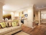 Гостиная-кухня с фреской — дизайн, визуализация  в стиле современной классики со встроенным точечным освещением на потолке