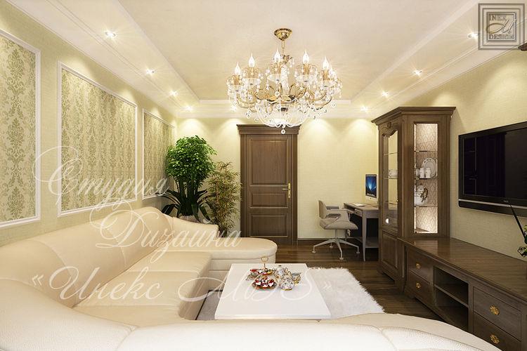 классический коридор с кесонным потолком - дизайн, визуализация