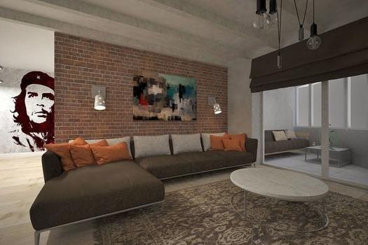 Интерьер двухкомнатной квартиры. В стиле лофт.