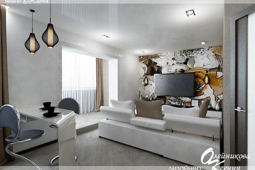 Интерьер 1-комнатной квартиры (38 м.кв.)