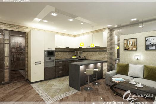 Интерьер 1-комнатной квартиры (37 м.кв.)
