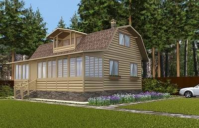 Фасадное решение для загородного дома,с увеличением площади. Летний вид.