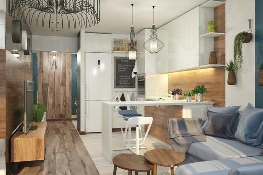 Дизайн проект однокомнатной квартиры для молодой пары.