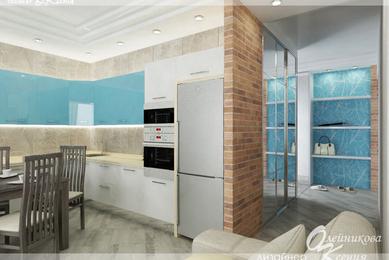 Дизайн-проект гостиной, кухни и холла, 45 м.кв.