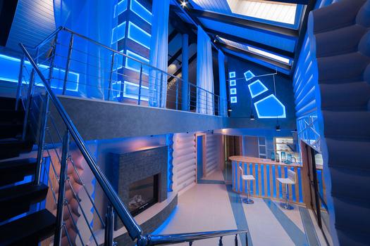 дизайн интерьера деревянного дома. Банный комплекс-зона релакса.