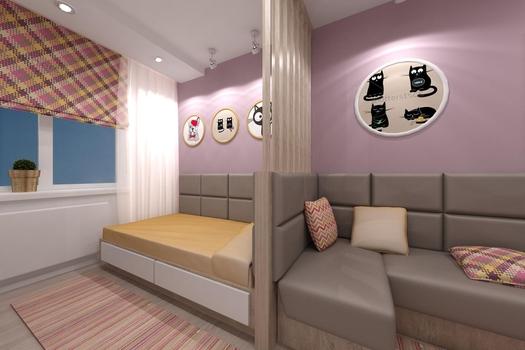 Детская комната для девочки (ЖК Аквамарин)