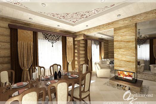 Кухня-гостиная на 1 этаже в доме из бревна