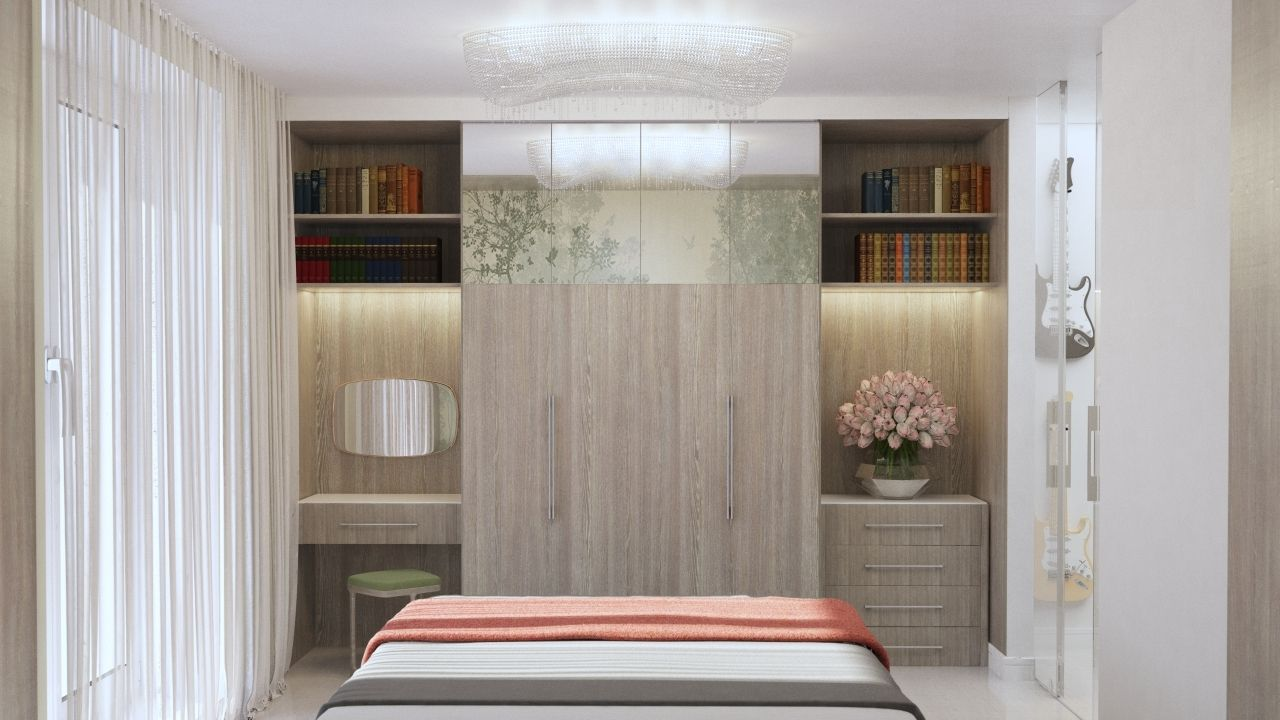 Спальня с французким окном. ЖК Скай севен (sky seven).