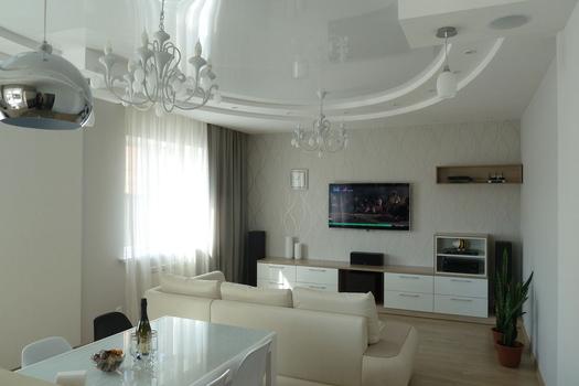 Кухня-гостиная в коттедже, 1 этаж. Визуализация и фото.