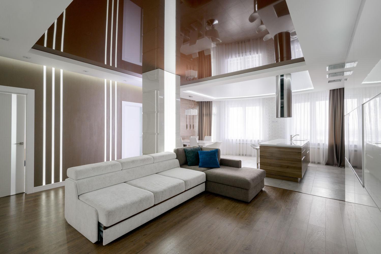 Четырехкомнатная квартира. Гостиная и кухня-столовая объединились в одно пространство