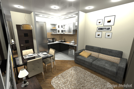 Жёлтое Такси.. Дизайн-проект квартиры студии вариант-2