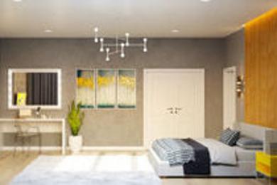 Яркая современная спальня.