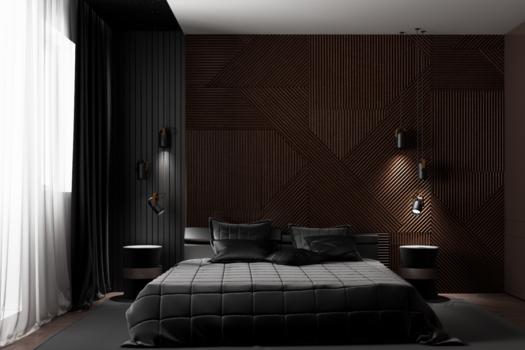 Современный интерьер спальной комнаты.