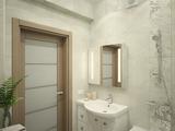 Дизайн-проект двухкомнатной квартиры в современном стиле. Ванная комната, туалет.
