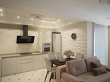 Дизайн-проект двухкомнатной квартиры в современном стиле. Кухня-гостиная, спальня и прихожая.