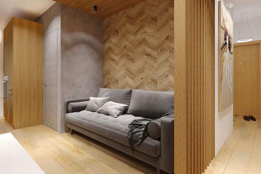 Визуализация проекта небольшой жилой квартиры в Краснодаре (56 м.кв.)