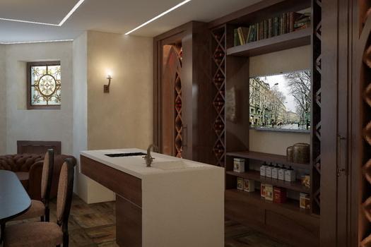 Эскизный проект винного зала в цокольном этаже. 2017г.