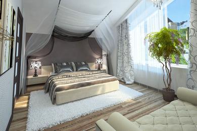 Спальня в мансарде, пос. Белые росы