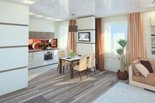 Гостиная-студия в квартире, ЖК Звездный