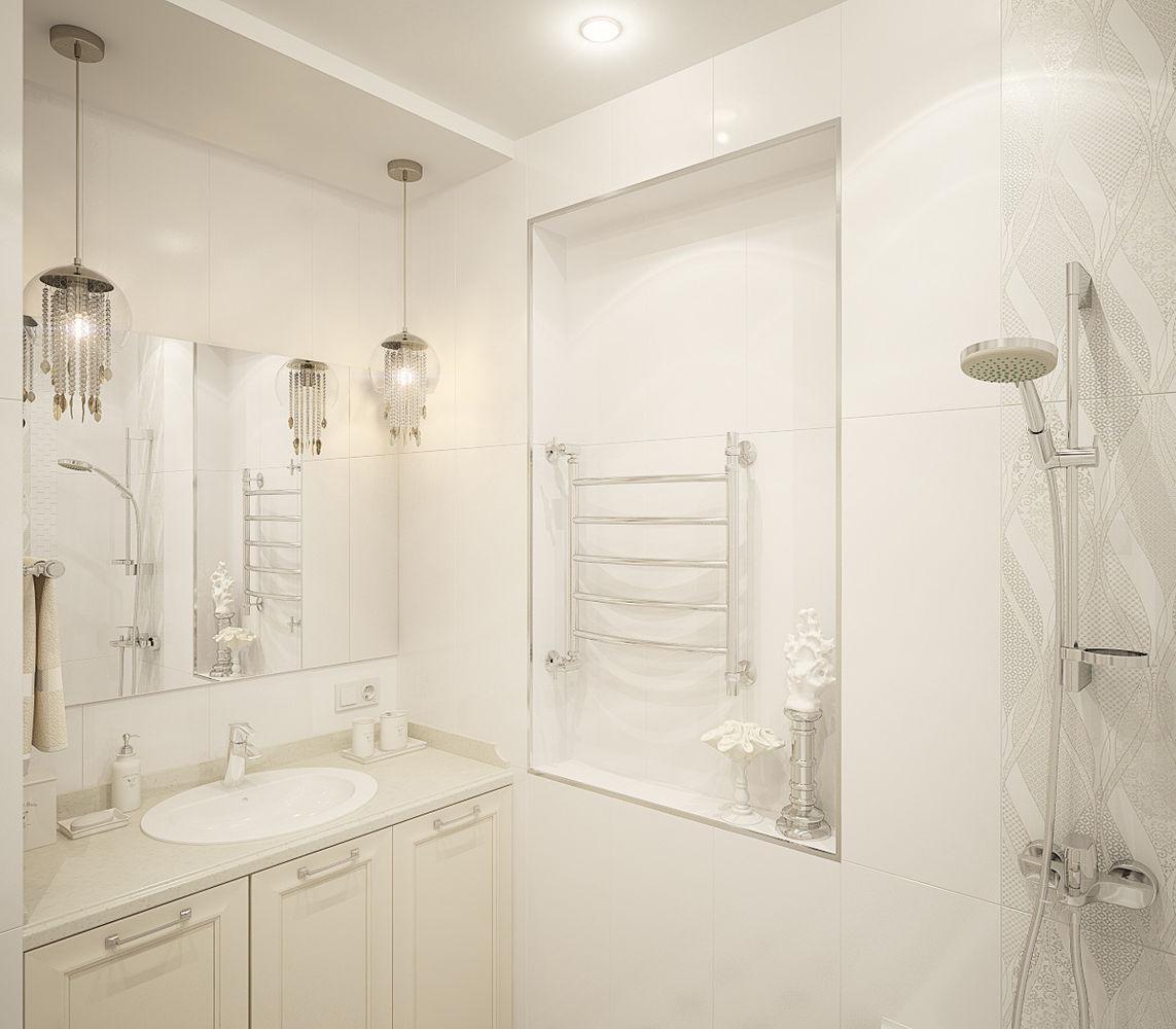 Квартира в неоклассическом стиле. Ванная комната, туалет и коридор.