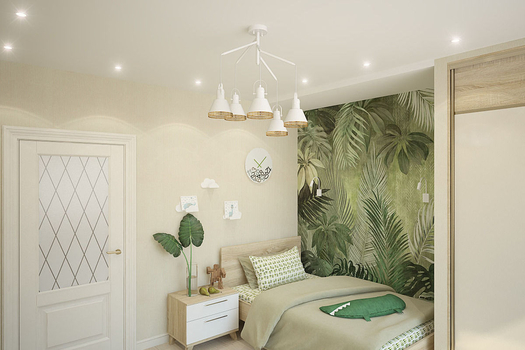 Квартира в неоклассическом стиле. Кухня-гостиная, прихожая, спальня для молодой женщины и детская комната для мальчика.