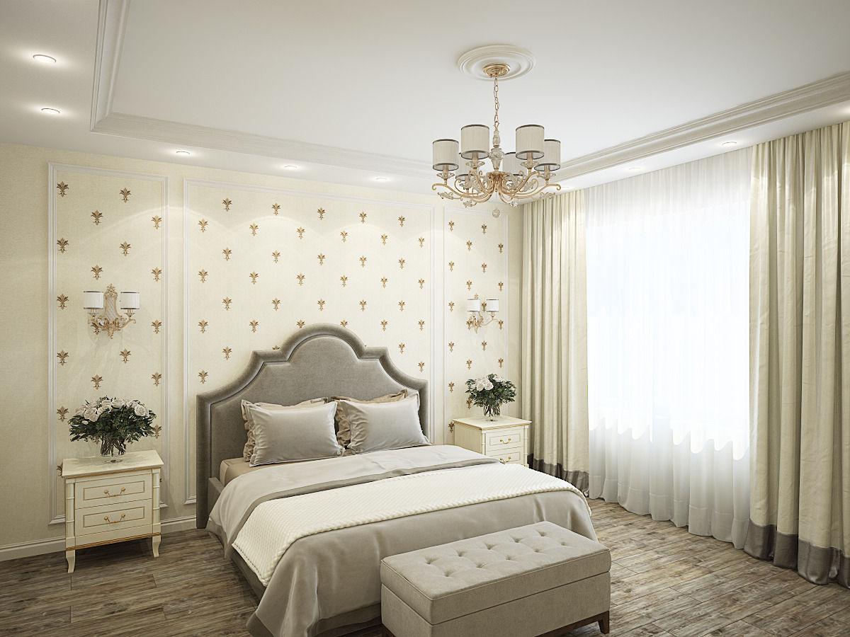 Интерьер индивидуального жилого дома: спальня, кабинет и ванная комната.