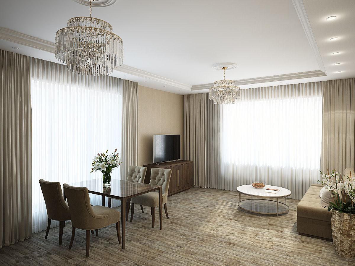 Интерьер индивидуального жилого дома: кухня-гостиная-столовая, прихожая, коридор.