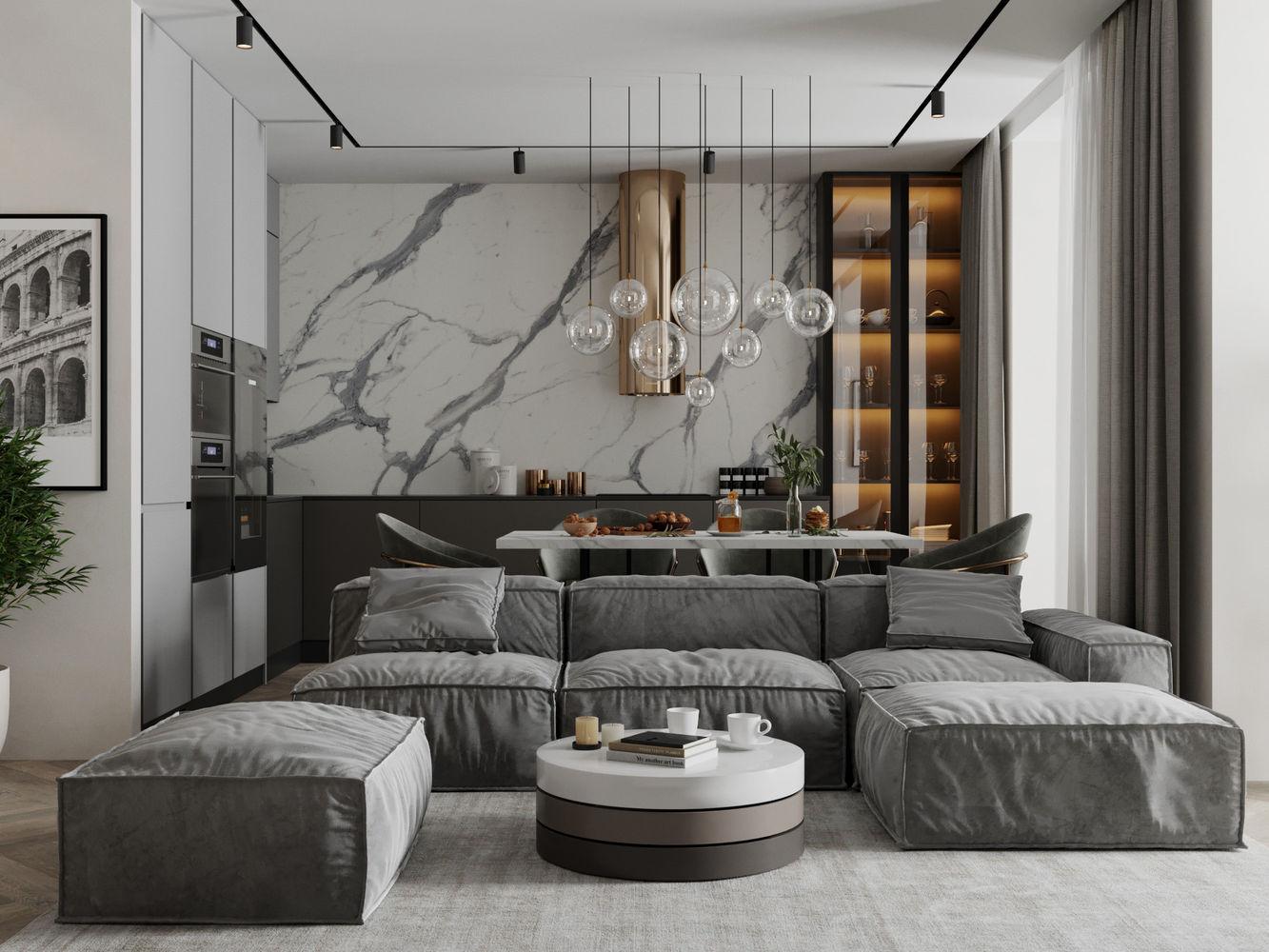 Дизайн интерьера квартиры 64 м2