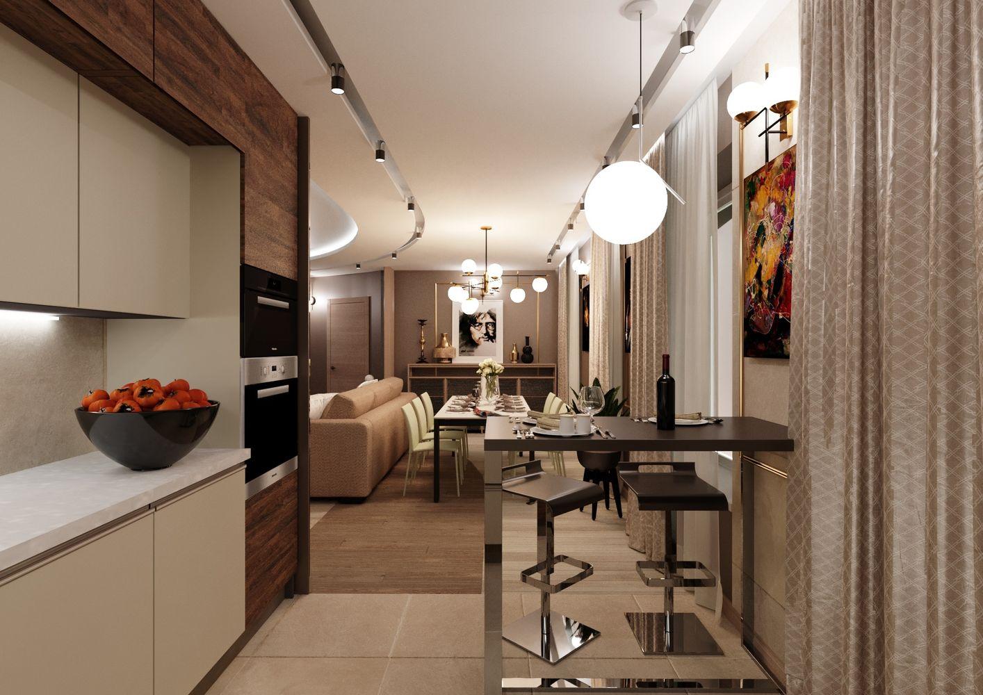 Гостиная в 3-х комнатной квартире для молодой семья.