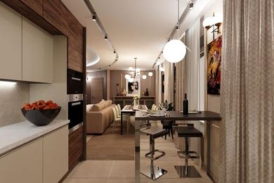 Гостиная, кухня, столовая, как результат перепланировки, которую заказал клиент. Вариант 2