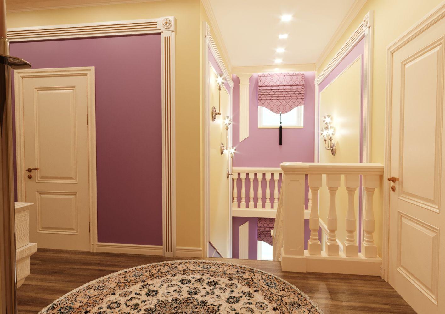 Лестничный холл 1 и 2 этажей в коттедже