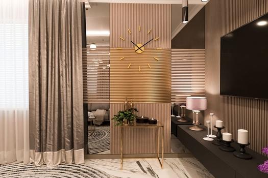 Гостиная, кухня, прихожая в 2-х комнатной квартире в ЖК 'SKY SEVEN'.