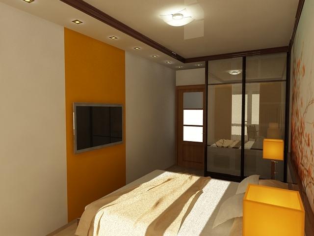 Узкая длинная спальня фото