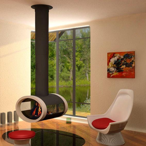 Подвесной камин для загородного дома