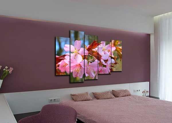 Модульная картина розовое цветение сакуры