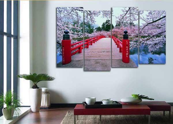 Модульная картина цветущий мостик сакуры