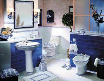 Синий унитаз дизайн туалета 87