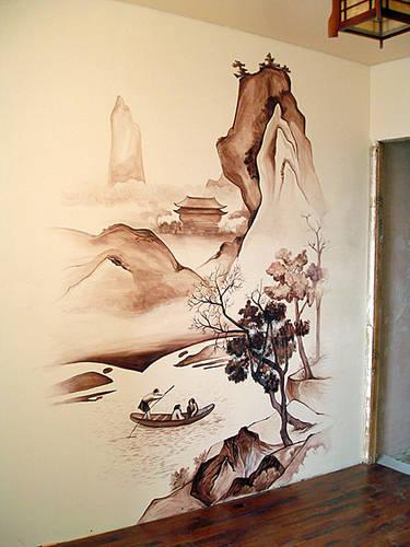 Роспись на стенах в японском стиле