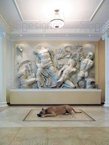 Классический интерьер, украшенный копией античного горельефа