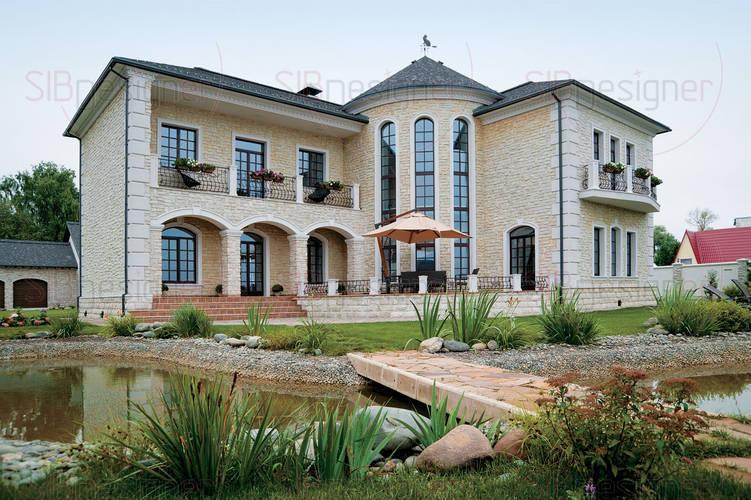 Каменный дом на берегу реки в Средиземноморском стиле