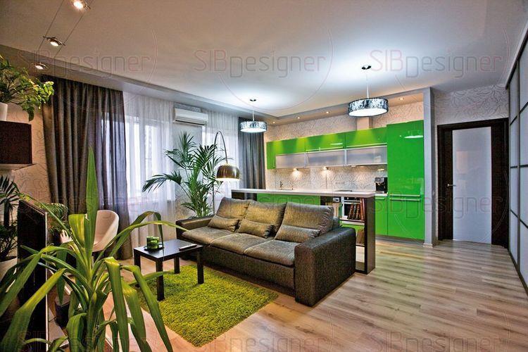 Зеленая кухня гостиная фото