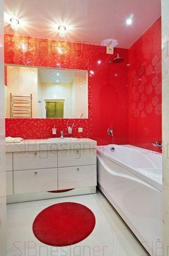 красно белая ванная комната 75