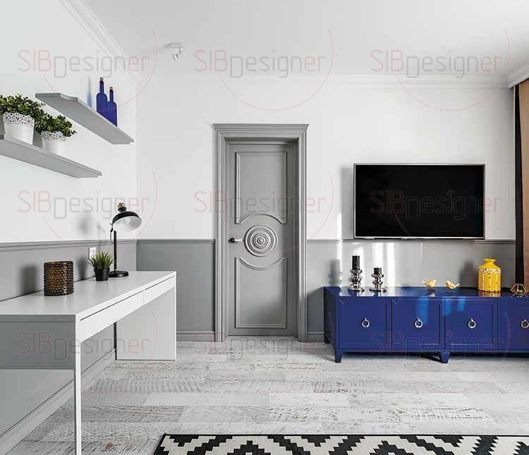 Особого внимания заслуживают межкомнатные двери, выполненные на заказ из МДФ, окрашенной в серый цвет.