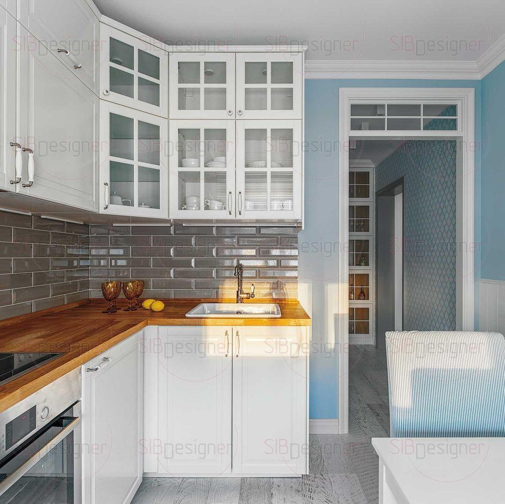 Кухонный фартук выполнен из глянцевого объемного «кабанчика», выложенного под кирпичную кладку.