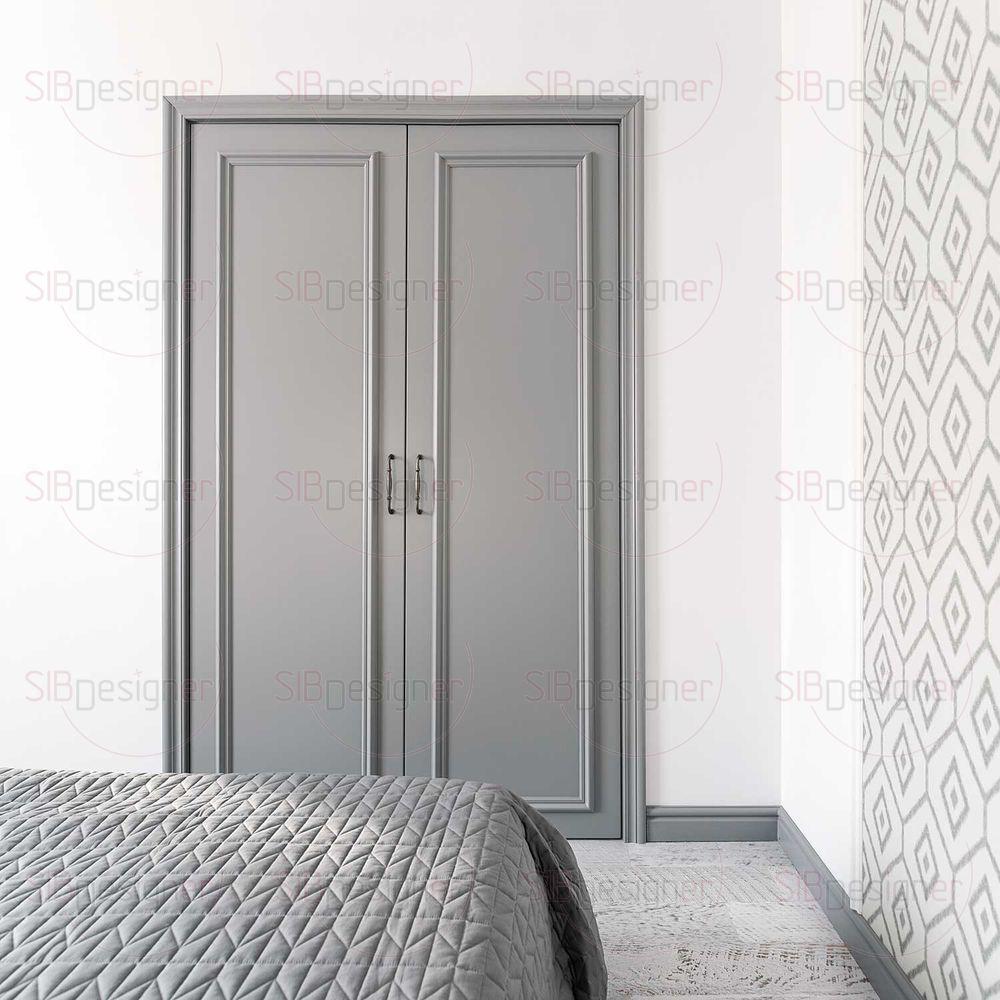 В нише за распашными дверями спрятан шкаф.
