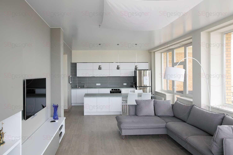 Кухонный гарнитур известного бренда Nobilia выполнен с матовыми белыми фасадами.