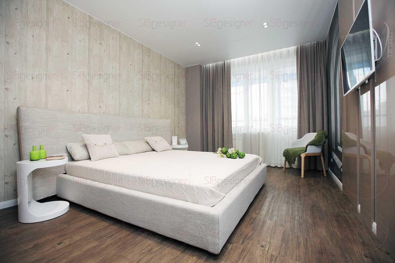 Хозяйская спальня оформлена в теплой спокойной гамме.