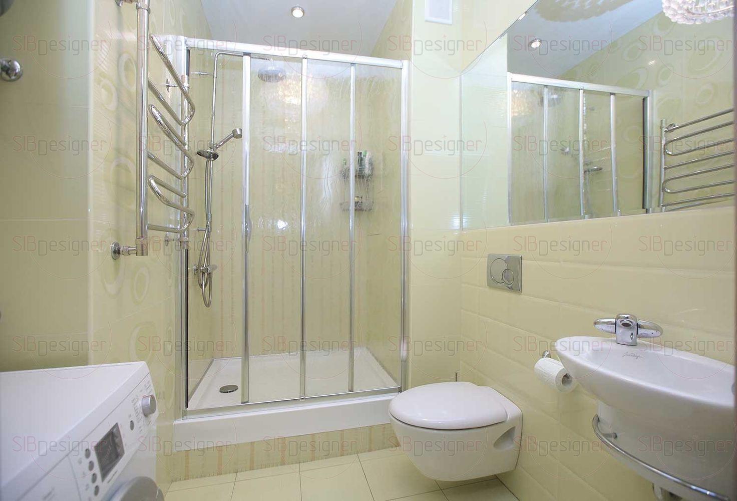 Небольшая перепланировка позволила создать из обычной туалетной комнаты полноценный санузел.