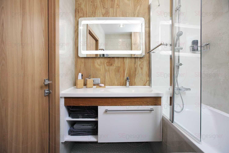 Ванная комната ярко демонстрирует концепцию сочетания родственных стилей.